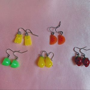 5 Pairs Claire's Dangly Fruit Foodie Earrings Set